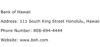 Bank of Hawaii Address Contact Number