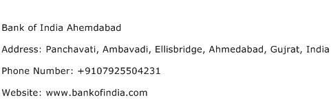 Bank of India Ahemdabad Address Contact Number