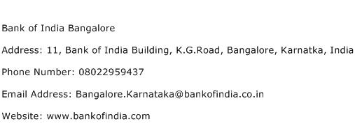 Bank of India Bangalore Address Contact Number