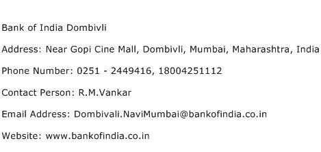 Bank of India Dombivli Address Contact Number