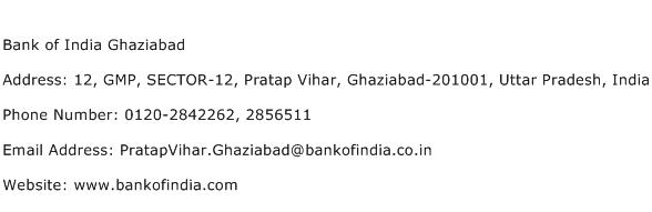 Bank of India Ghaziabad Address Contact Number