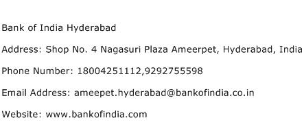 Bank of India Hyderabad Address Contact Number