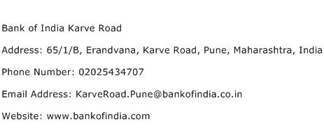 Bank of India Karve Road Address Contact Number