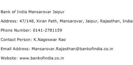 Bank of India Mansarovar Jaipur Address Contact Number