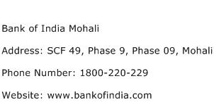 Bank of India Mohali Address Contact Number