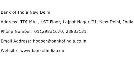 Bank of India New Delhi Address Contact Number