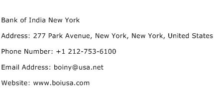 Bank of India New York Address Contact Number
