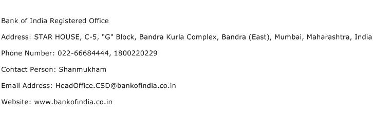 Bank of India Registered Office Address Contact Number