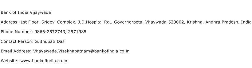 Bank of India Vijaywada Address Contact Number