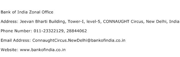 Bank of India Zonal Office Address Contact Number
