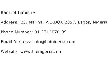 Bank of Industry Address Contact Number