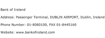 Bank of Ireland Address Contact Number