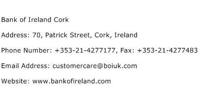 Bank of Ireland Cork Address Contact Number