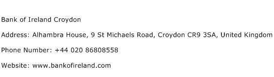 Bank of Ireland Croydon Address Contact Number