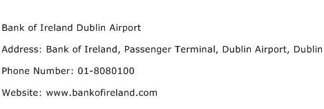 Bank of Ireland Dublin Airport Address Contact Number