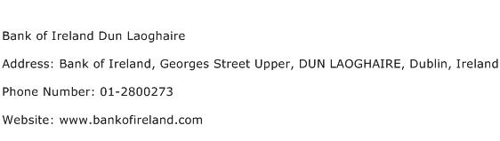 Bank of Ireland Dun Laoghaire Address Contact Number