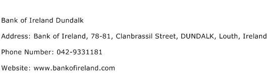 Bank of Ireland Dundalk Address Contact Number