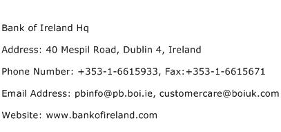 Bank of Ireland Hq Address Contact Number