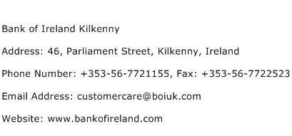 Bank of Ireland Kilkenny Address Contact Number