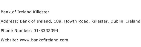 Bank of Ireland Killester Address Contact Number