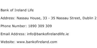 Bank of Ireland Life Address Contact Number