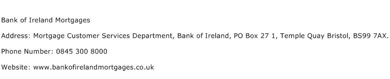 Bank of Ireland Mortgages Address Contact Number