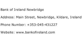 Bank of Ireland Newbridge Address Contact Number