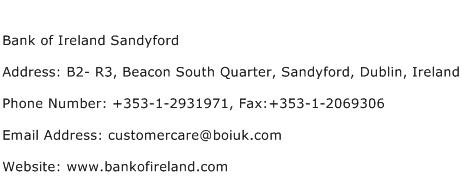 Bank of Ireland Sandyford Address Contact Number