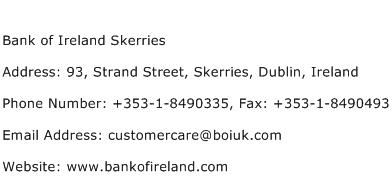 Bank of Ireland Skerries Address Contact Number