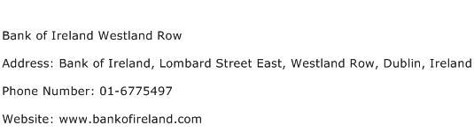 Bank of Ireland Westland Row Address Contact Number