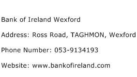 Bank of Ireland Wexford Address Contact Number