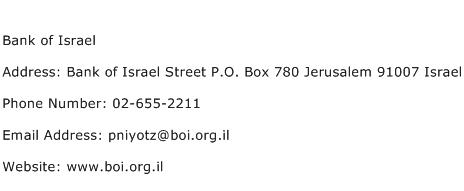 Bank of Israel Address Contact Number