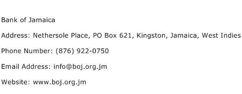 Bank of Jamaica Address Contact Number