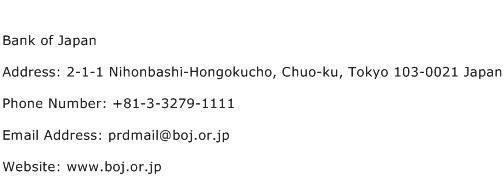Bank of Japan Address Contact Number