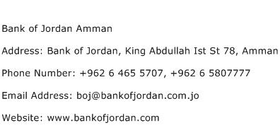 Bank of Jordan Amman Address Contact Number