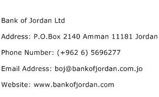 Bank of Jordan Ltd Address Contact Number