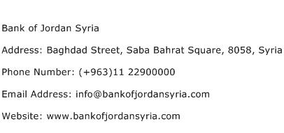 Bank of Jordan Syria Address Contact Number