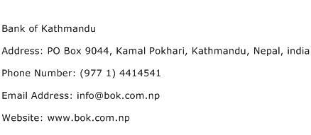 Bank of Kathmandu Address Contact Number