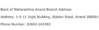 Bank of Maharashtra Anand Branch Address Address Contact Number