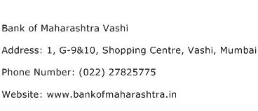 Bank of Maharashtra Vashi Address Contact Number