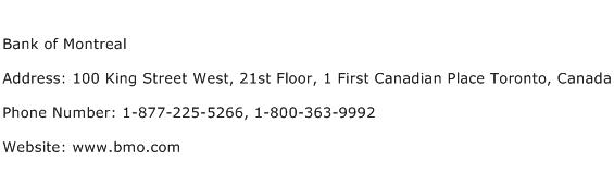 Bank of Montreal Address Contact Number