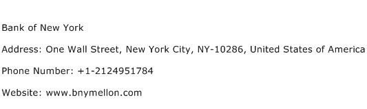 Bank of New York Address Contact Number