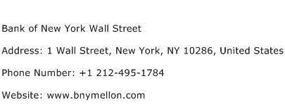 Bank of New York Wall Street Address Contact Number
