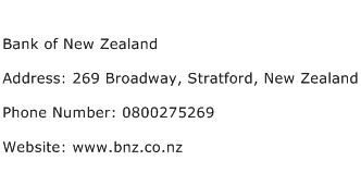 Bank of New Zealand Address Contact Number