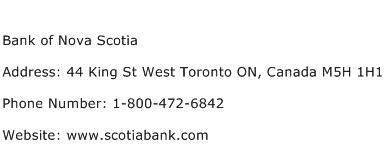 Bank of Nova Scotia Address Contact Number