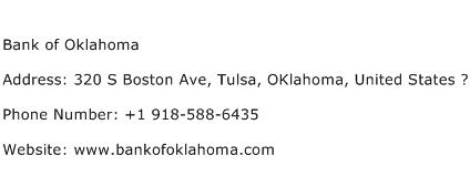 Bank of Oklahoma Address Contact Number
