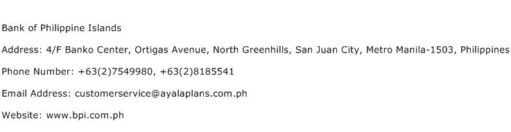 Bank of Philippine Islands Address Contact Number
