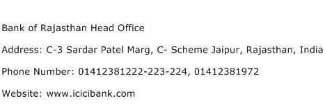 Bank of Rajasthan Head Office Address Contact Number