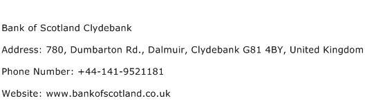 Bank of Scotland Clydebank Address Contact Number