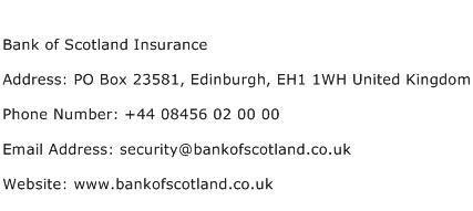 Bank of Scotland Insurance Address Contact Number